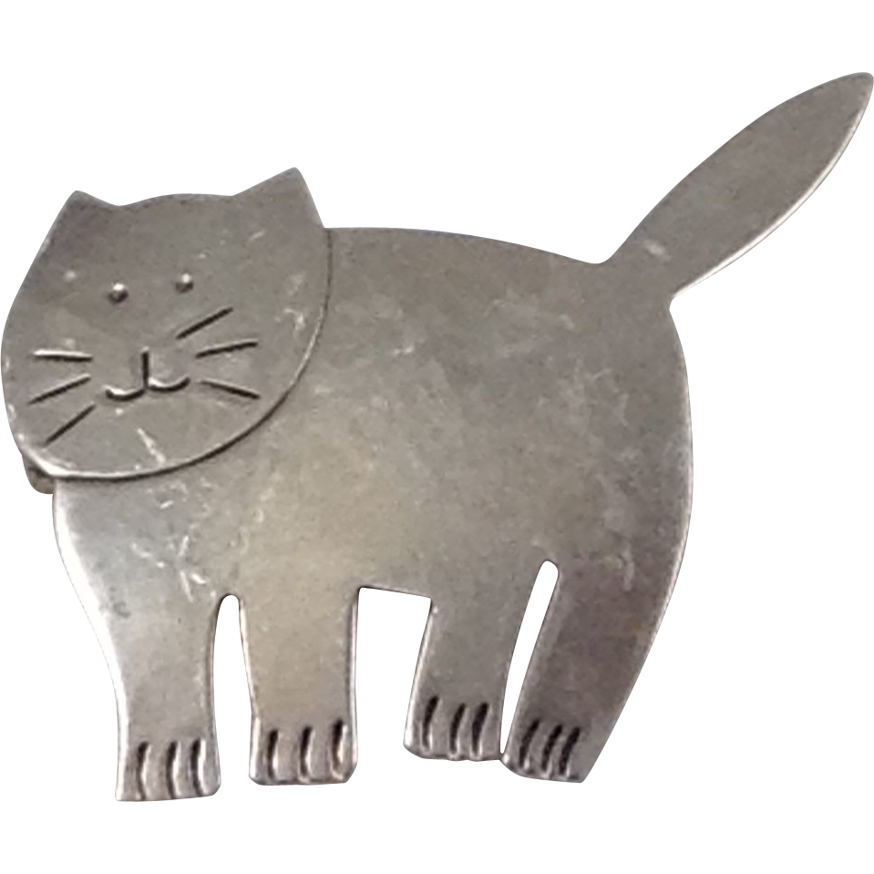 Fat Cat Large Kitty Figural Pin TAXCO Sterling Silver Brooch Signed Mexico