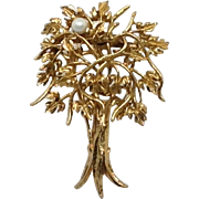 """ Pearl of Wisdom "" Tree Pin Mid Century Modernist Gold Tone Brooch"