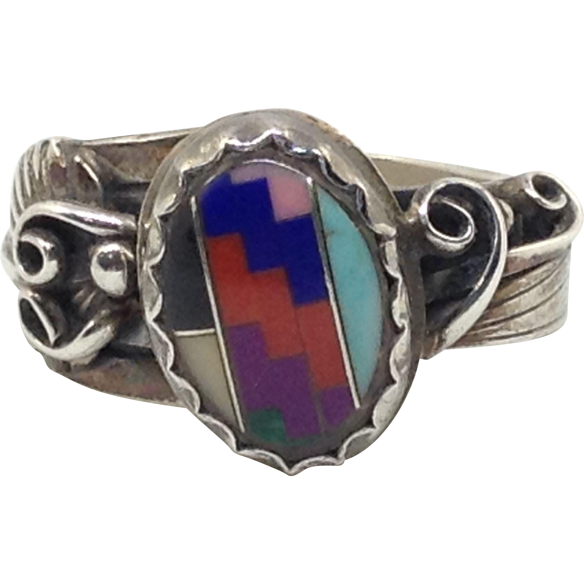 Sterling Silver Ring Navajo Turquoise Coral Lapis Inlay Native Indian Feather Overlay