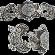 Double Chain Forget Me Not Fleur de Lis Leaf Bracelet Moon Etched Victorian Style Silver Tone