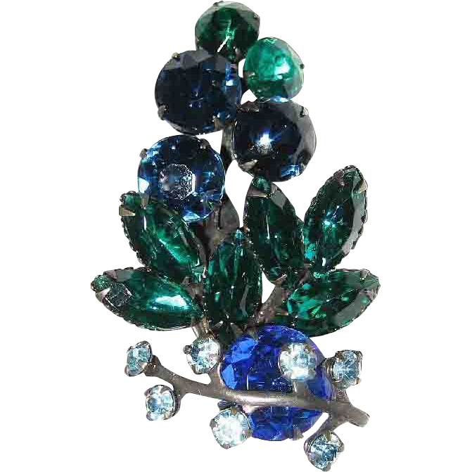 Large! Overlay Pin Blue Green Rhinestone Brooch Silver Tone  Leaf Vine Spray