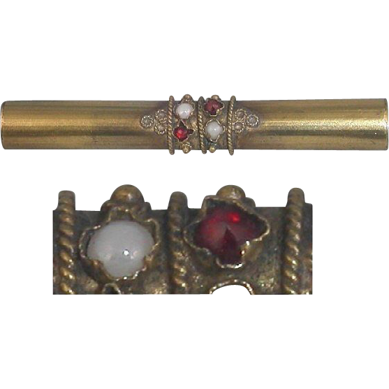 Rose Cut Garnet to Ruby Red Bohemian Glass Pin Brooch Seed Beads Victorian Edwardian C Clasp Gold Tone Brooch