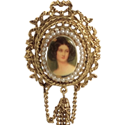 Large Cameo Pin Simulated Seed Bead Pearls Signed Art Edwardian Style Brooch