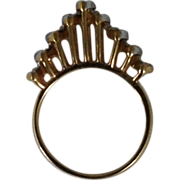 Cathedral Tiara Ring Paste Glass Diamond Rhinestone Gold Tone with Silver Tone Edge