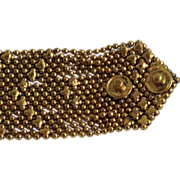 Wide Etruscan Revival Bracelet Beaded Mesh Gold Tone