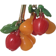 Celluloid Cherry Apple Pear Earrings Fruit Leaf Signed Early Plastic