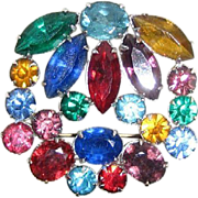 Multi Colored Glass Pin / Pendant for Necklace Rhinestone Brooch Silver Tone