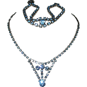 Runway Blue Set Drop Glass Diamond Rhinestone Necklace Bracelet Silver Tone Demi