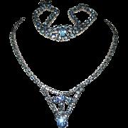 Runway Blue Set Drop Glass Diamond Rhinestone Necklace Bracelet Silver Tone Demi