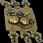 Art Nouveau Belt Buckle Brass Metal Sash Flower Thistle Bold Glass Rhinestone