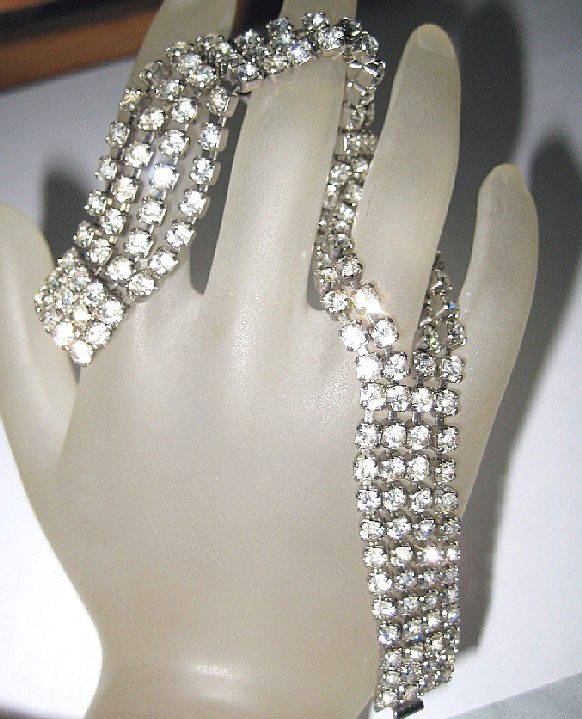 4 Row Mesh SPLIT Clear Glass Diamond Rhinestone Bracelet Vintage Silver Tone Chain