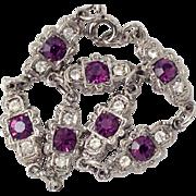 Art Deco Style Purple Amethyst & Glass Diamond Rhinestone Bracelet Silver Tone