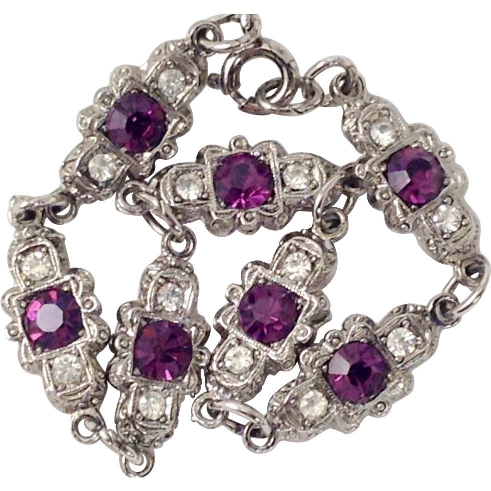 Art Deco Style Purple Amethyst & Glass Diamond Rhinestone Bracelet Silver Tone