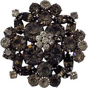 Royal Weiss Pin Black Diamond Rhinestone Signed Gray Glass Brooch Silver Tone