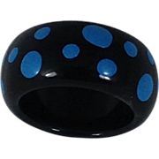 Retro Ring Black Hand Painted Blue Polka Dots