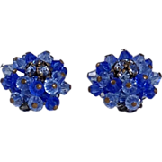 Alice Caviness Earrings Rhinestone Earrings Cobalt to Royal Blue Glass SIGNED