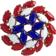 Patriotic Red White Blue Pin Vintage Glass Rhinestone Gold Tone Brooch