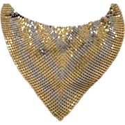 Retro Reversible TWO TONE Mesh Bib Necklace Gold Tone and Silver Tone