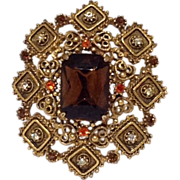 BIG Florenza Pin Gold Tone Beaded Pendant for Necklace Rhinestone Pin Brown Tangerine Orange Glass Signed