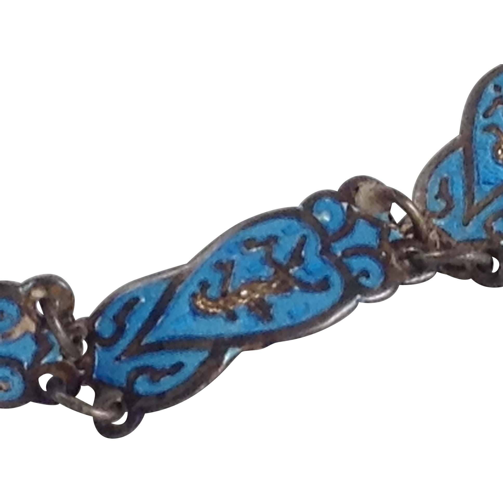 Blue Guilloche Enamel Sterling Bracelet Siam Dancer Silver Signed