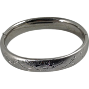 Flower Vine Bracelet Etched Carl Art Silver Tone Bangle Signed Mid Century