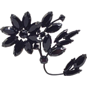 Unique Black Pin Large Flower Jet Glass Rhinestone with Stem and Leaf Gothic Brooch