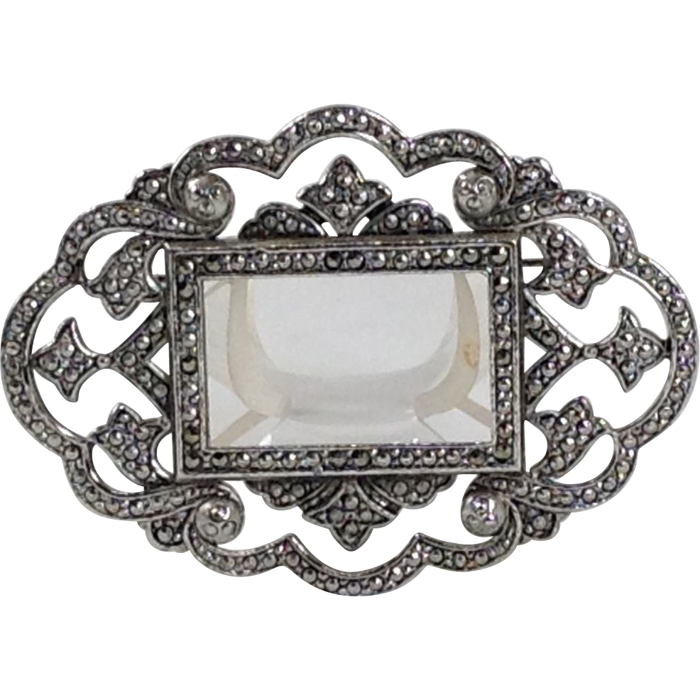 Miriam Haskell Marcasite Steel Cut Pin Silver Stone Finding BIG Brooch Signed