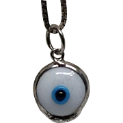 Sterling Blue Eye Necklace Double Sided Eyeball Silver Signed / Hallmark