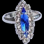 Sapphire Blue Glass Ring Diamond Rhinestone Silver Tone