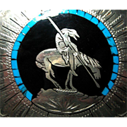 End of the Road Native American Indian on Signed Belt Buckle Crafted Johnson Held Signed Cowboy Silver Tone Enamel