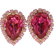 Pink Delight Earrings Opaque & Translucent Glass Rhinestone Clips