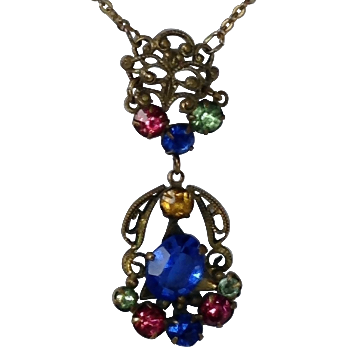 Georgian Style Necklace Pink Blue Green Glass Rhinestones Gold Tone Beaded Metal Work