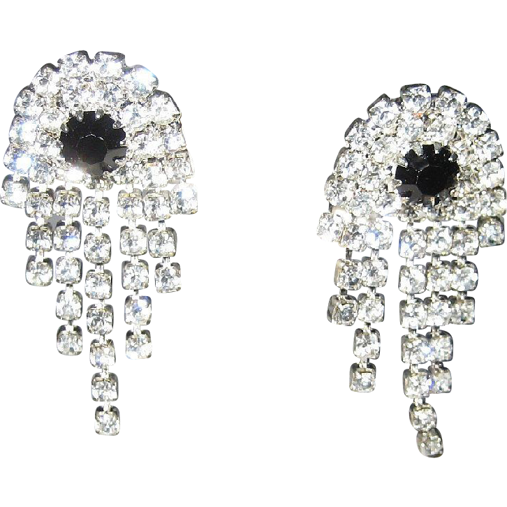 Cocktail Earrings 5 Row Clear Glass Diamond Jet Black Rhinestone Silver Tone Mesh Pierced