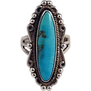 Knuckle Ring Beaded Signed Sterling Silver Blue Turquoise Long Native American Indian
