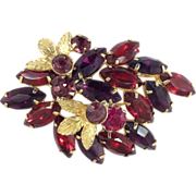 BOLD Elegance!  Pin Purple Garnet to Ruby Red Gold Tone Leaf Overly Glass Rhinestone Brooch
