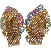 Rhinestone Mesh Earrings Clip Pink Purple Blue Green Amber Glass Gold Tone Pastel