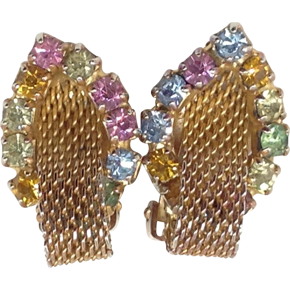 Rhinestone Mesh Earrings Clip Pink Purple Blue Green Amber Glass Gold Tone Pastel
