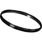 Sterling Bangle Bracelet Mid Century Abstract Etched Silver Signed Hallmark