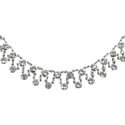 Sparkling Festoon Necklace Sterling Silver Clear Diamond Crystal Rhinestones