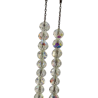 Crystal Beaded Necklace On Chain 2 Strand Graduating Vintage Silver Tone