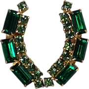 Emerald Green Earrings Climbers Glass Rhinestone Gold Tone Long