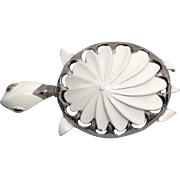 Pinwheel Star Turtle Pin Mid Century White Enamel Silver Tone Metal Figural Brooch