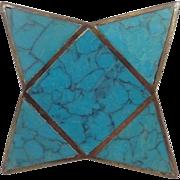 Atomic Los Castillo Mid Century Modernist Brass Blue Turquoise Inlay Dresser Drawer Metal Knob Pull Handle Taxco