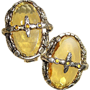 Big Renaissance Style Earrings Honey Amber Glass OVERLAY Rhinestone