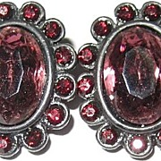 Elegant Garnet Red & Purple Victorian Style Rhinestone Earrings Signed Black Japanned Enamel