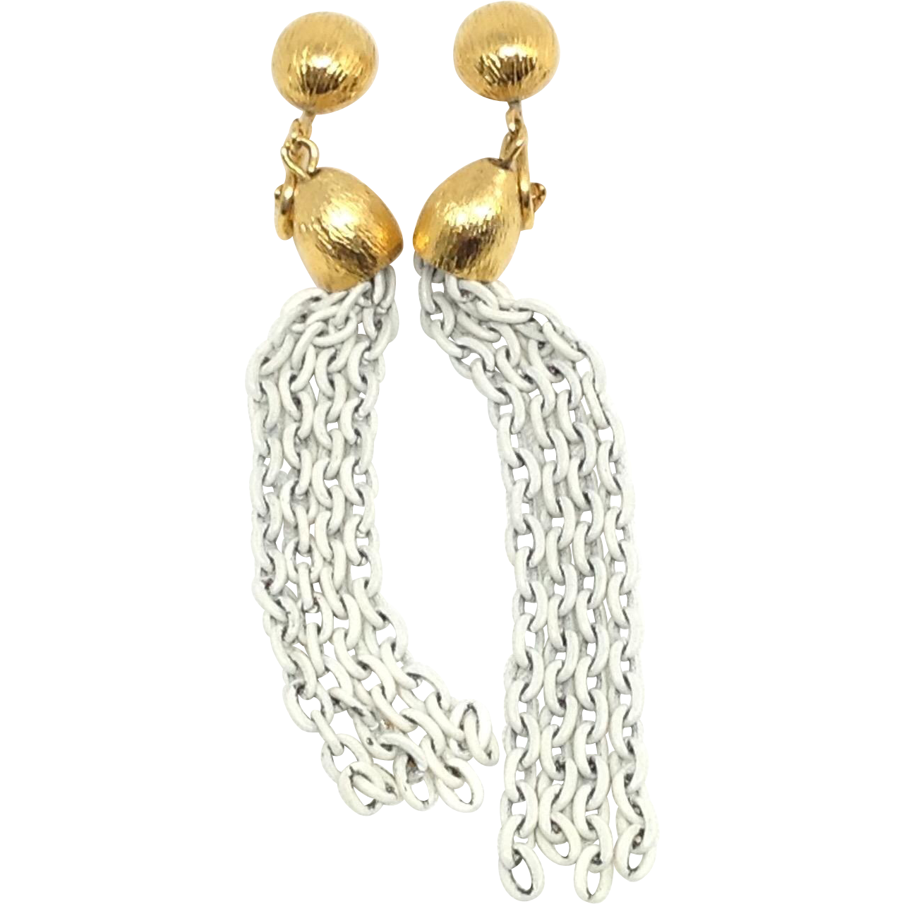 Retro Mod White Enamel Chain Earrings Dangle Clips
