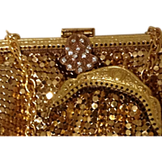 2 Mesh Purse and Coin Rose & Gold Tone Metal Paste Glass Diamond Rhinestone Art Deco Style