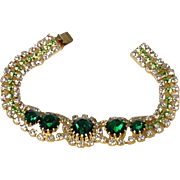 Dripping Jeweled Bracelet Emerald Green & Clear Diamond Glass Rhinestones