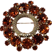 Cherry Amber Brown Weiss Pin Signed Rhinestone Brooch