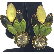 Spring Summer Fall Earrings Green Enamel Leaf Overlay  & Rhinestone Clips